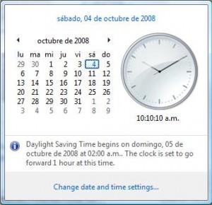 Windows Vista avisa cuando se realizará el cambio de hora.